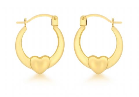9ct Yellow Gold Small Heart Creole Hoop Earring                             3819